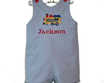 Boys Custom Boutique Train Shortall, Train Jon Jon, Birthday Train Romper, Train Longall