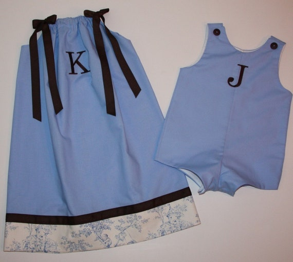 Custom Boutique Brother and Sister Outfits - Sky Blue/Chocolate Pillowcase Dress and Jon Jon