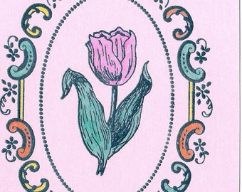 Oval Scroll with Pink Tulip