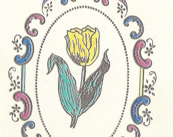 Oval Scroll Frame with Yellow Tulip