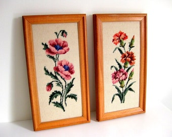 Vintage needlepoint pictures Floral framed needlepoint