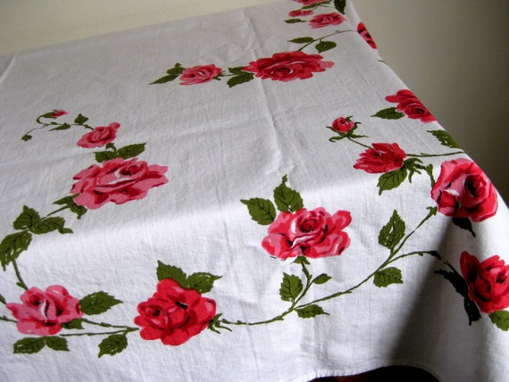 Vintage tablecloth with roses