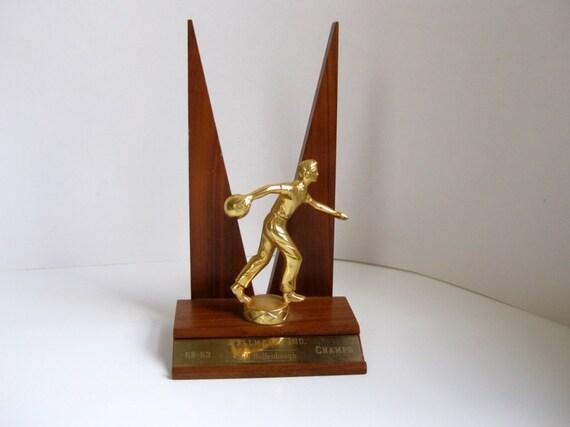 Vintage bowling trophy midcentury