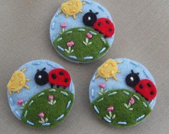 Felt Hair Clip -  Ladybug in the Garden- Wool Felt - Baby Snap Clip  - berrycooldesigns