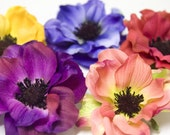 Anemone Flower Hair Clip - Choose Hot Pink, Rose Cream, Purple, Blue or Yellow