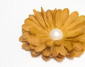 ONE DOLLAR SALE - Brown Mustard / Amber Orange Chrysanthemum Flower Hair Clip