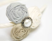 Triple Cluster Rolled Fabric Rosette Headband in Slate Blue, Smooth Beige, and Ivory