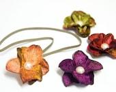"SALE - Autumn ""HYDRANGEA MINIS"" - Velvet Hydrangea Flower Headbands in Amber Orange, Violet Purple, Red Green or Moss Green"