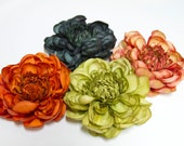 SALE - Large DAHLIA Flower Hair Clips, CHOOSE Butterscotch Orange, Apple Red, Chocolate Brown, Deep Eggplant, or Ivory Cream