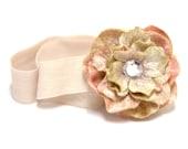 Matilda Jane M2M - SIMPLETON II - Hydrangea Flower Blossom Headband in Peachy Pink, Tan, and Mocha, Serendipity