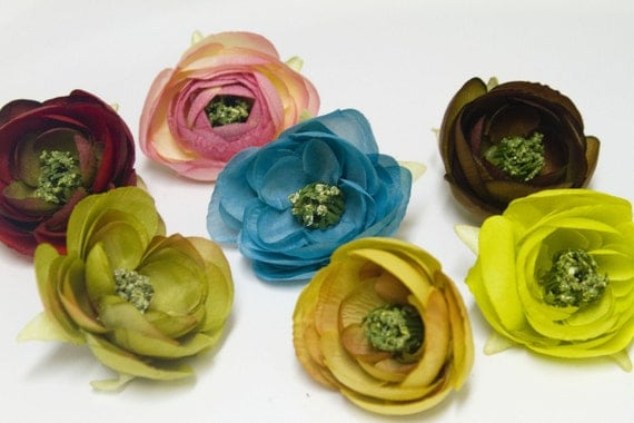 Hand Embellished Flower Hair Clip, 21 different COLORS, Small ranunculus in pinks, blues, greens, browns,  black, gray, yellow, purples