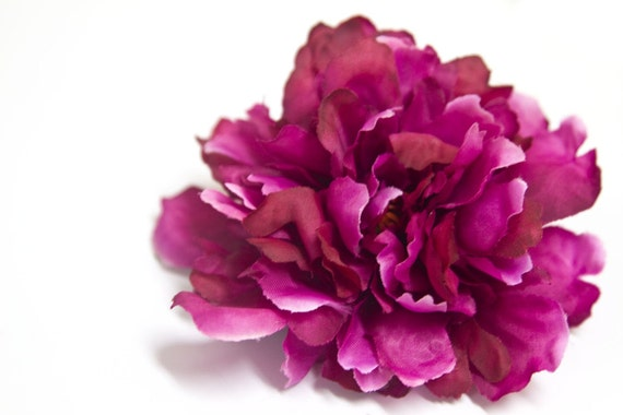 Small Peony in Magenta Hand Embellished Flower Hair Clip