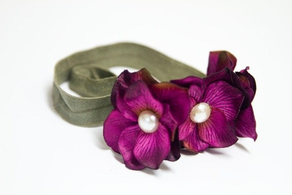 "THE ""Forest Fairy"" - Luxe Hydrangea Flower Headband in Orchid/Violet/Magenta and Thistle Green"
