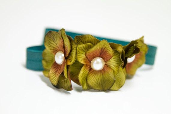 "THE ""Garden Nymph"" - Luxe Hydrangea Flower Headband in Moss Green and Cerulean Blue"