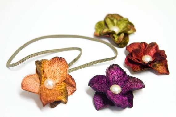 "SALE - Autumn ""HYDRANGEA MINIS"" - Velvet Hydrangea Flower Headbands in Amber Orange, Violet Purple, Red Green or Moss Green"