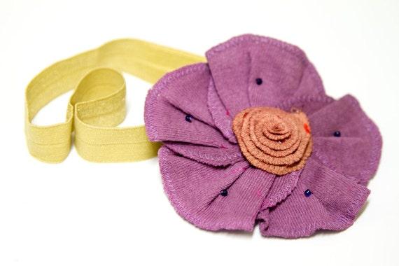Matilda Jane m2m - LUCKY STARS - Cotton Fabric Flower Headband in a Plum, Lemongrass Green, and Amber, Serendipity