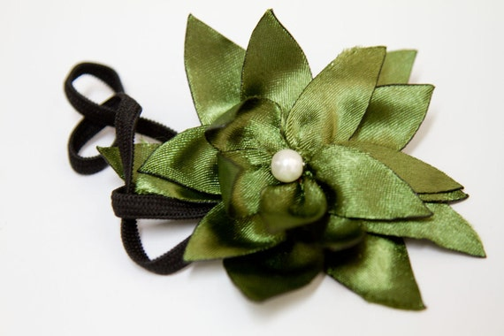 FIVE DOLLAR SALE - Green Olives - Fabric Lotus Flower Headband in Olive Green and Black