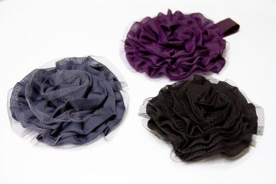 SALE - Large Chiffon and Tulle Flower Rosette Headband in Jet Black, Slate Gray or Eggplant Purple