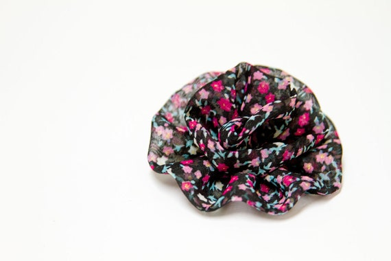 Chiffon Flower Hair Clip in BLACK
