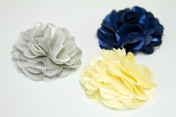 Satin and Tulle Flower Hair Clip in Gray, Yellow or Navy