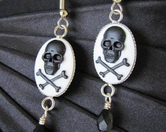Black on White Skull Cameo Earrings with Czech Crystal Drop