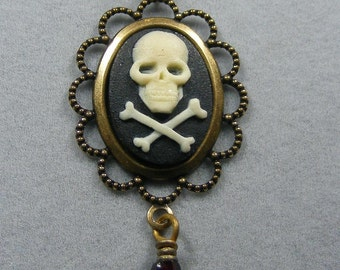 Golden Gothic Skull and Crossbones Cameo with Ruby Drop