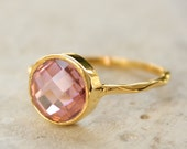 Reserved for Forrest:  Gold Pink Quartz Ring - Round Cut - Vermeil Gold - For a Princess