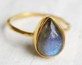 Gold Blue Labradorite Teardrop Ring - Delicate Band - Stackable Ring - Marked Down
