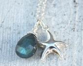 Silver Starfish Necklace - Blue Labradorite - Sterling Silver