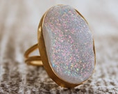 White Agate Druzy Ring - Oval Shape - Just Glitters
