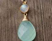 Aqua Chalcedony and Rainbow Moonstone Necklace - 14KT Gold Fill