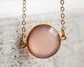 Peachy Pink Chalcedony Necklace - Simple Bezel Necklace - Spring Color Palette