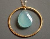 Gold Aqua Chalcedony Necklace - Sea Foam Green - Mint Green, 14KT Gold Fill