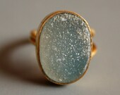 Pale Green Agate Druzy Ring - Soft Grey, Moss Green Tone - Adjustable Ring