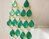 Green Onyx Chandelier Earrings - Emerald Green - Glamorous Hollywood