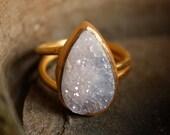 Lilac Lavender Druzy Ring - Teardrop - Adjustable Ring, Mauve Stone, Spring