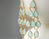 Aqua Chalcedony Chandelier Earrings - Sea Foam Green - Red Carpet Glamour