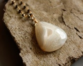 Natural White Agate Necklace - London Blue Topaz, Moonstone, Pyrite - Layering Necklace, Organic Shape
