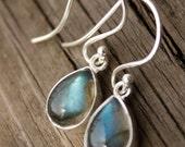 Small Blue Labradorite Teardrop Earrings - Silver Filled - The Northern Lights, Midnight Sun