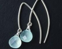Aqua Chalcedony Earrings - Silver Filled