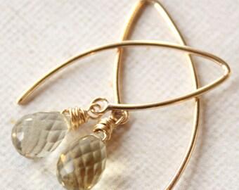 Lemon Yellow Quartz Gold Hook Earrings