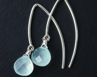 Aqua Chalcedony Earrings - Silver Filled