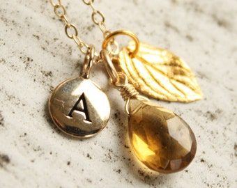 Personalized Charm Necklace - Hand Stamped, Initial Charm - Champagne Citrine, Gold Leaf, 14KT Gold Fill, Autumn Weddings