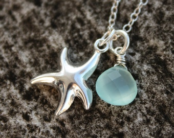 Silver Starfish Necklace - Aqua Blue Chalcedony - Sterling Silver