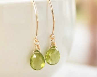Green Peridot Earrings - 14KT Gold Filled - August Birthstone, Birthstone Earrings