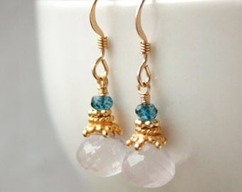 Gold Pink Rose Quartz Earrings - with Mystic Blue Quartz - Soft Pink Gemstone Earrings, 14K GF