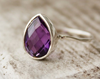 Silver Purple Amethyst Teardrop Ring - Hammered Ring - Stackable Ring