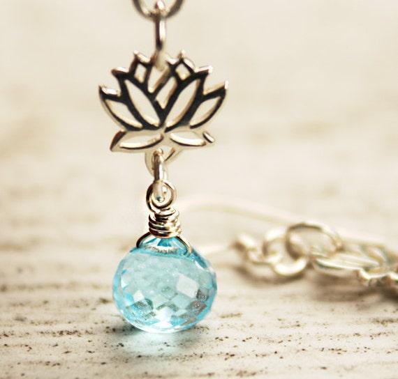 Silver Lotus Earrings - Blue Topaz - Yoga Jewelry, Zen, Nature Inspired