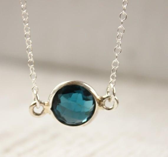 Blue Topaz Necklace - Sterling Silver - Simple Bezel Necklace, Birthstone Necklace
