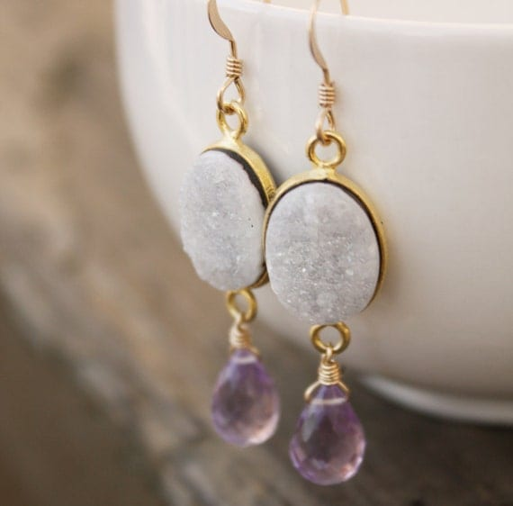 White Onyx Druzy Earrings with Lilac Pink Amethyst - 14KT Gold Fill, Winter Sparkles, Frosty